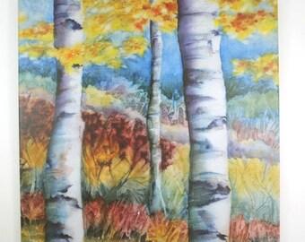 Fall Birch Trees Art Tile Hangable Wall Art Fall Watercolor Art