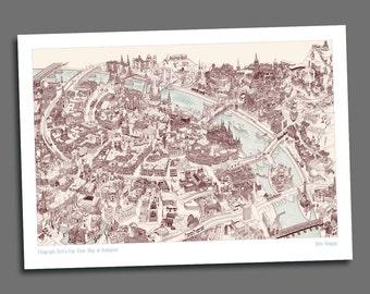 Bird's Eye View Map of Budapest - Giclée Print