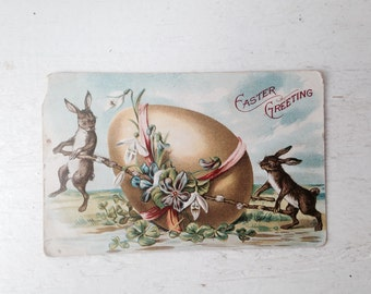 Easter Greetings Vintage Postcard Dated 1909 Victorian Easter Bunny