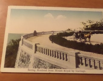 Vintage seeing montreal from mount royal by carriage Postcard Free Shipping