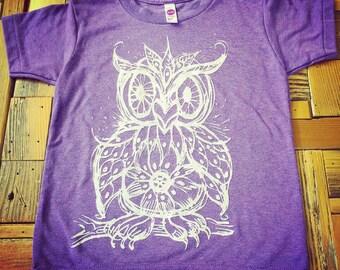 Mosaic Owl Kids T shirt, youth sizes 2-12 great horned owl, screech owl, owls, birds
