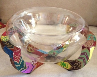 Hand Painted Unique Bohemian Wood Stand and Glass Bowl For Home or Office