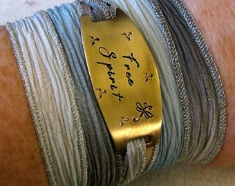 Free Spirit Hand Stamped Silk Ribbon Wrap Bracelet, Yoga Wrap Hipster Bracelet - Boho, Hippie, Indie Jewelry