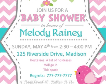 Printable DIY Pink white and teal Baby Shower Invitation Girl with Birds and Houses