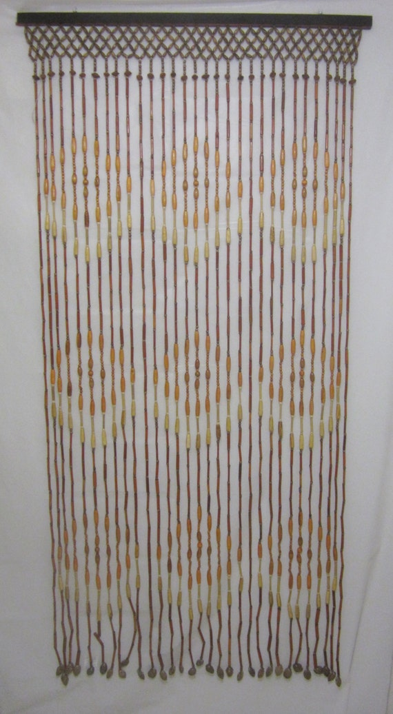 vintage wooden beaded bead curtain 72x32 by