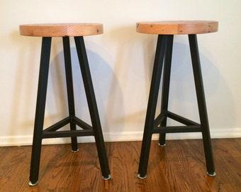 Custom Indoor/ Outdoor Rustic Modern/ Contemporary Reclaimed Wood Stool