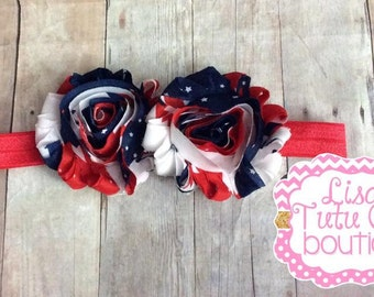Stars and Stripes, 4th of July Shabby Headband. Patriotic Headband.
