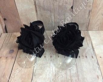 Black Barefoot Sandals. Infant Sandals.