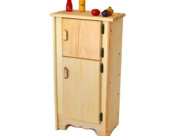 Natural Wooden Toy- Kitchen Icebox/Refrigerator-Waldorf play kitchen-Montessori wooden toy-Child's Kitchen