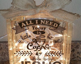 """8"""" x 8"""" Glass Block with Lights & Burlap Bow - """"All I Need"""""""