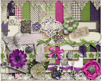 La Belle Vie - Digital Scrapbooking Page Kit INSTANT DOWNLOAD