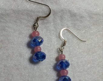 Blue Czech Crystals with Pink Earrings