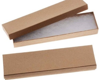 Kraft Brown Cardboard Jewelry Boxes 8 x 2 x 1 Inches (40)