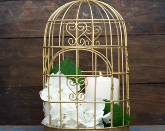 Shabby Chic Decor - Antique Gold Bird Cage - Gold Candle Holder - Gold Wedding Gift Cards Box Alternative - Rose Gold
