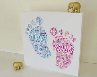 Canvas baby gift. Twins baby shower. Present for baby twins. Baby footprints. Nursery picture for twins. Twins christening present.