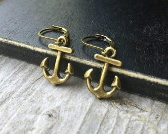 Brass Tiny Anchor Earrings With Lever Backs