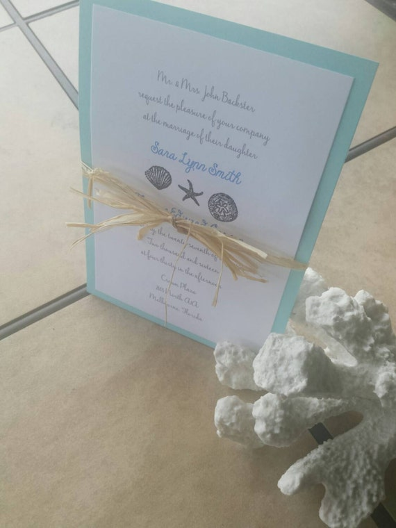 Handmade Beach Themed Wedding Invitations By Erially On Etsy