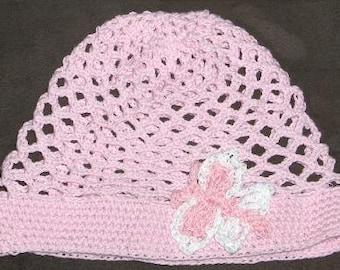 crochet summerhat, baby hat with butterfly, crochet girl hat,