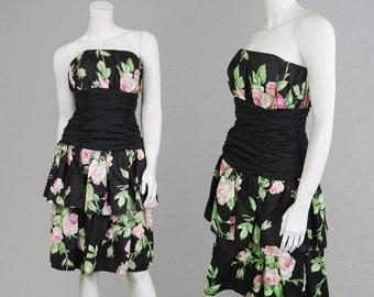 Vintage 80s RADLEY Strapless Dress Black Taffeta Party Dress Puff Skirt Layered Dress Tier Dress Floral Print Puffball Skirt Designer Dress