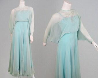 Vintage 70s JEAN VARON Maxi Dress Blue Chiffon Evening Dress Batwing Sleeves Disco Dress Designer Dress Frozen Dress 1970s Dress Avant Garde
