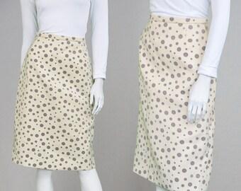 Vintage 60s Wool Skirt Cream Skirt Polka Dot Skirt Knee Length High Waisted Skirt Mod Skirt 1960s Skirt Office Skirt Medium Skirt A Line