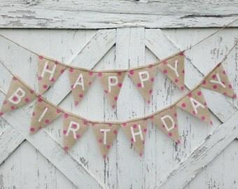 Happy Birthday Burlap Banner, Birthday Decoration