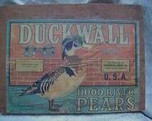 ORIGINAL Vintage Duckwall Hood River Pears from Oregon FRUIT LABEL Wood Plaque