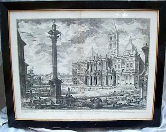 """Framed Original 1749 GIOVANNI BATTISTA PIRANESI Etching Print from """"Views of Rome"""" - Basllica S. Maria Maggiore"""
