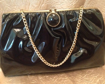 Black Patent Leather Clutch Handbag