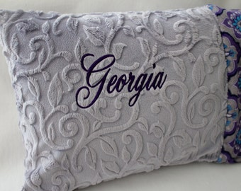 """Travel Pillow - Toddler Pillow, 12"""" x 16"""" Minky Pillowcase - Majestic Minky and Gray Embossed Vine, Eggplant Purple, Turquoise, Embroidery"""