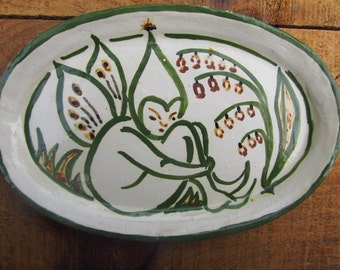 Vintage Fairy Dish - Fairie Plate - Hand Painted Fairy Wood Nymph Plate