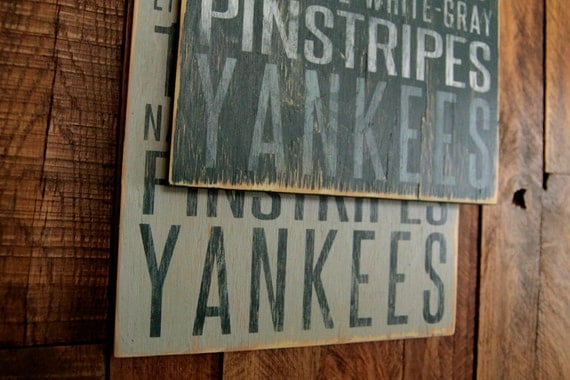 New York Yankees Baseball Distressed Wood Sign--Great Father's Day Gift!