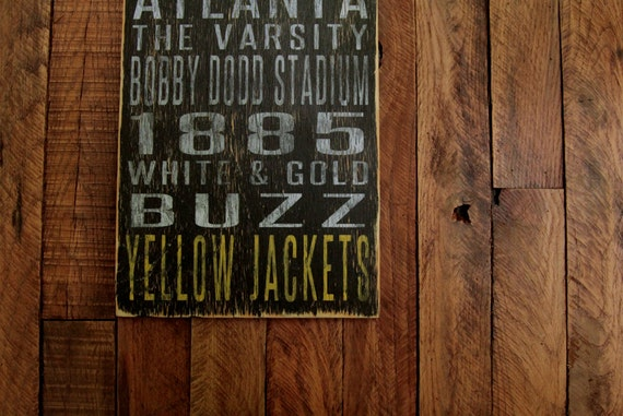 Georgia Tech Yellow Jackets Distressed Wood Sign--Great Father's Day Gift!
