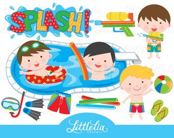 Boy pool party clipart - pool party clipart - summer clipart - 15013