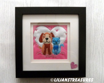 Best friends: cats and dogs quilture