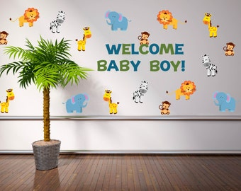 Jungle baby shower decorations etsy for Baby shower wall decoration ideas