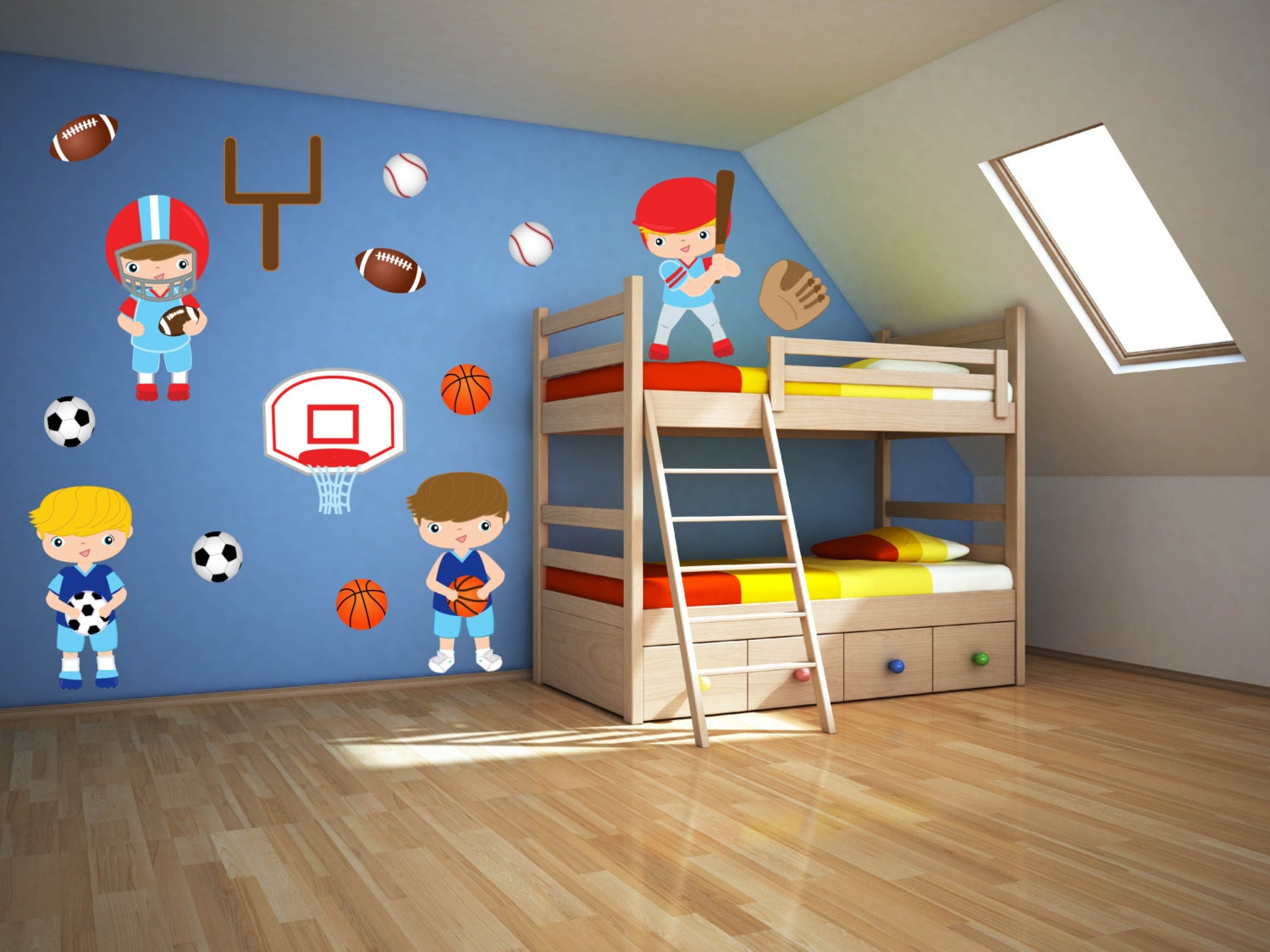 Boys room wall decals sports wall art sport theme decor for Sports decals for kids rooms