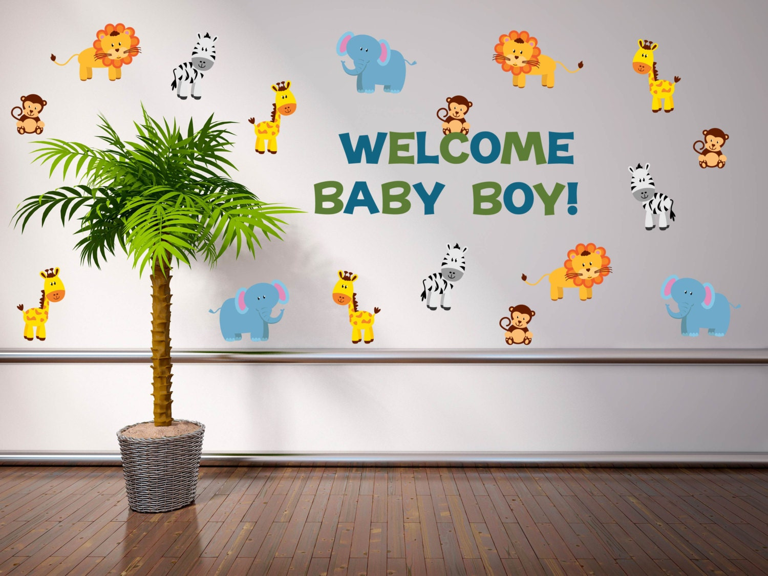 Jungle baby shower decorations safari baby shower for Baby shower safari decoration