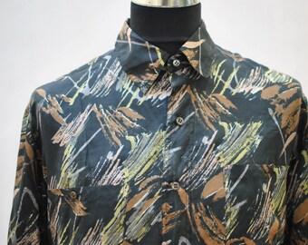 Vintage PRINTED SILK SHIRT , men silk shirt , relax days shirt....