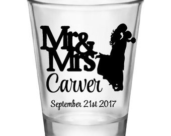 "50x ""Mr Mrs Cute"" Custom Shot Glasses"