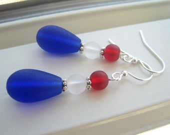 Fourth of July Earrings - 4th of July Jewelry - USA Earrings - Red White and Blue Earrings - Patriotic Jewelry - Olympic Earrings