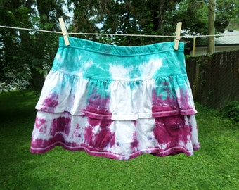 Girls Tye Dyed Skirt with Built in Shorts, XL Cotton Teal and Raspberry Hand Dye Short Skirt