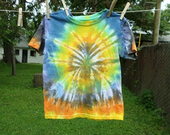 Tye Dye Tshirt Kids Small, Orange Yellow Green Blue and Grey Hand Dyed Small Childrens Top, Tie Dye 4T Cotton Tshirt