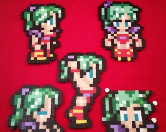 Final Fantasy VI/Final Fantasy III (US) perler bead sprite Terra choose from 1 of 5 stances or get all 5, plain or magnet