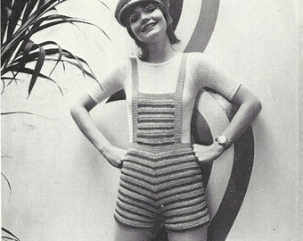 1970's Hot Pants and Dungarees Knitting and Crochet Pattern – PDF Instant Download