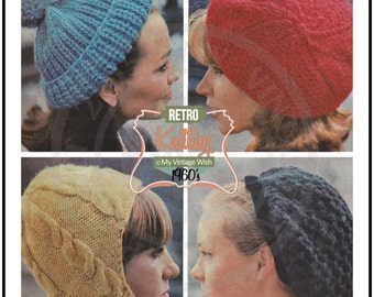 1960s Snood and Hats Retro Knitting Pattern  - PDF Instant Download