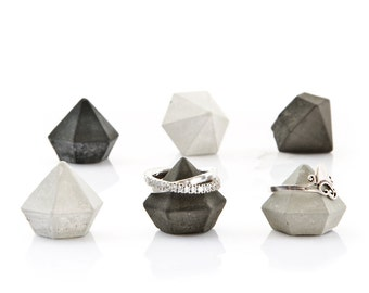 6 Cement Diamonds, black, grey or mix of six mini concrete diamonds, concrete diamond home decor, beton sculpture