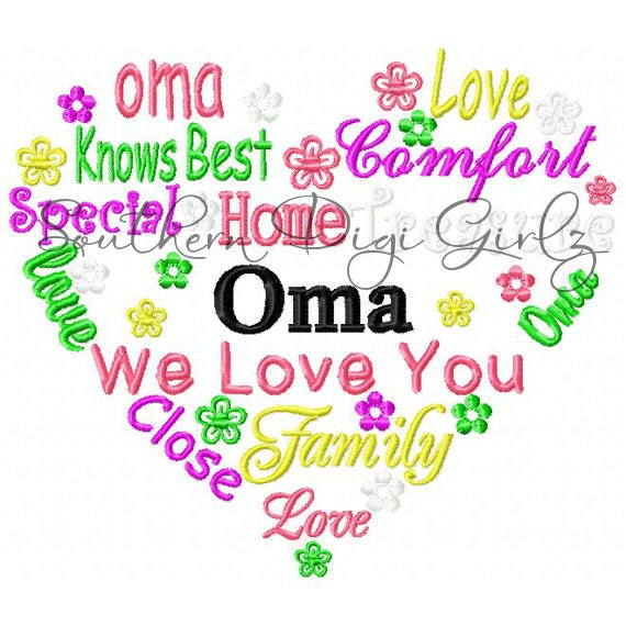 Oma Heart Word Art Embroidery Design INSTANT DOWNLOAD