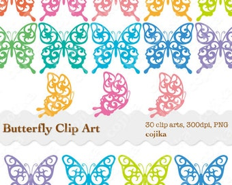Butterfly Clip Art, Rainbow Butterflies Cliparts, 30 pieces, PNG files -E073- Instant Download