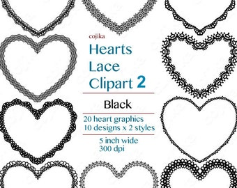 Hearts Lace Clipart 2 , Black Heart, 20 heart graphics -V027- Instant Download
